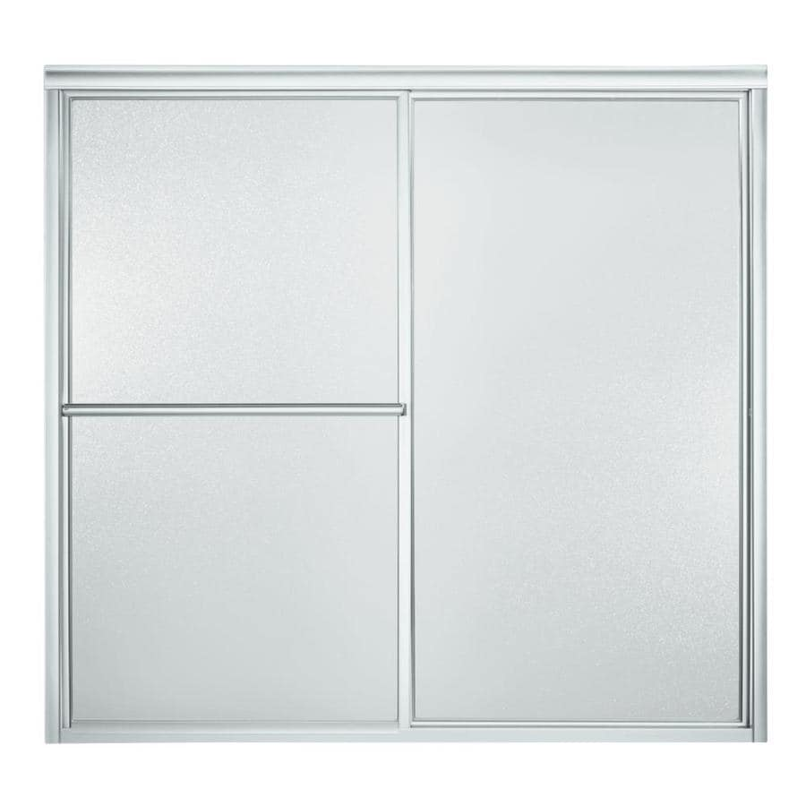 Sterling Deluxe 59.38-in W x 56.25-in H Silver Framed Bathtub Door