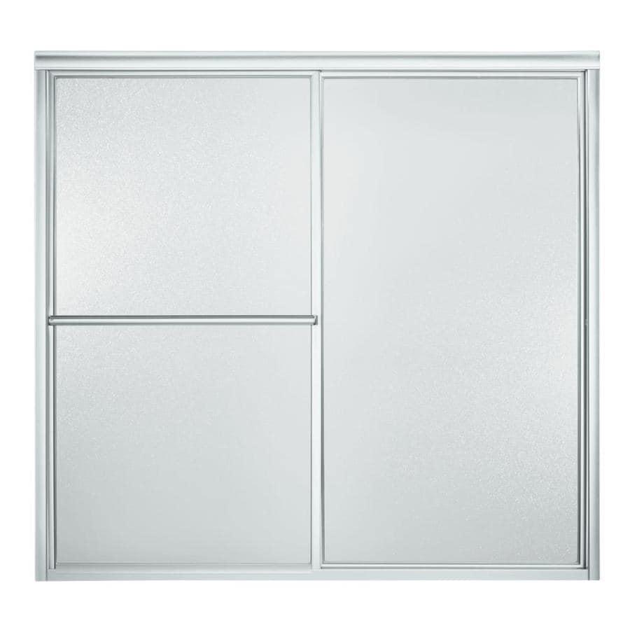 Sterling 59.38-in W x 56.25-in H Silver Bathtub Door