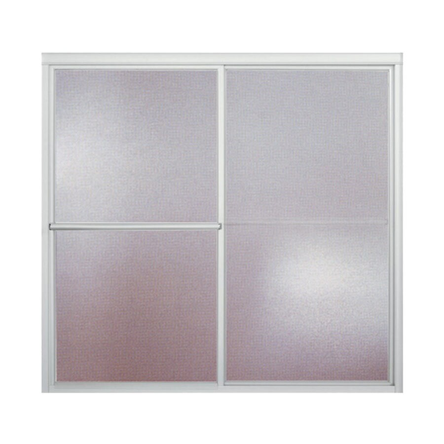 Sterling Deluxe 57.7500-in W x 56.2500-in H Silver Framed Bathtub Door