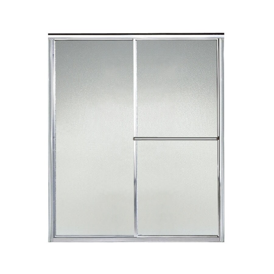 Sterling Deluxe 54.375-in to 59.375-in Framed Silver Sliding Shower Door