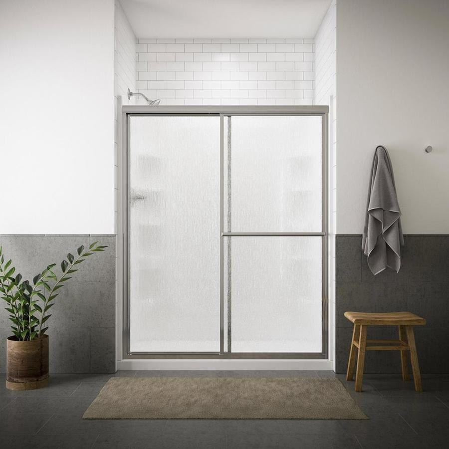 sterling deluxe 54375in to 59375in framed silver sliding shower door shop
