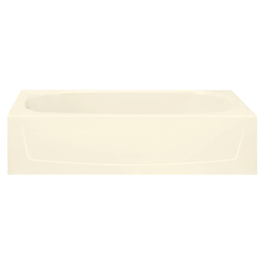 Sterling Performa Biscuit Fiberglass and Plastic Composite Oval In Rectangle Skirted Bathtub with Left-Hand Drain (Common: 29-in x 60-in; Actual: 15-in x 29-in x 60.25-in)