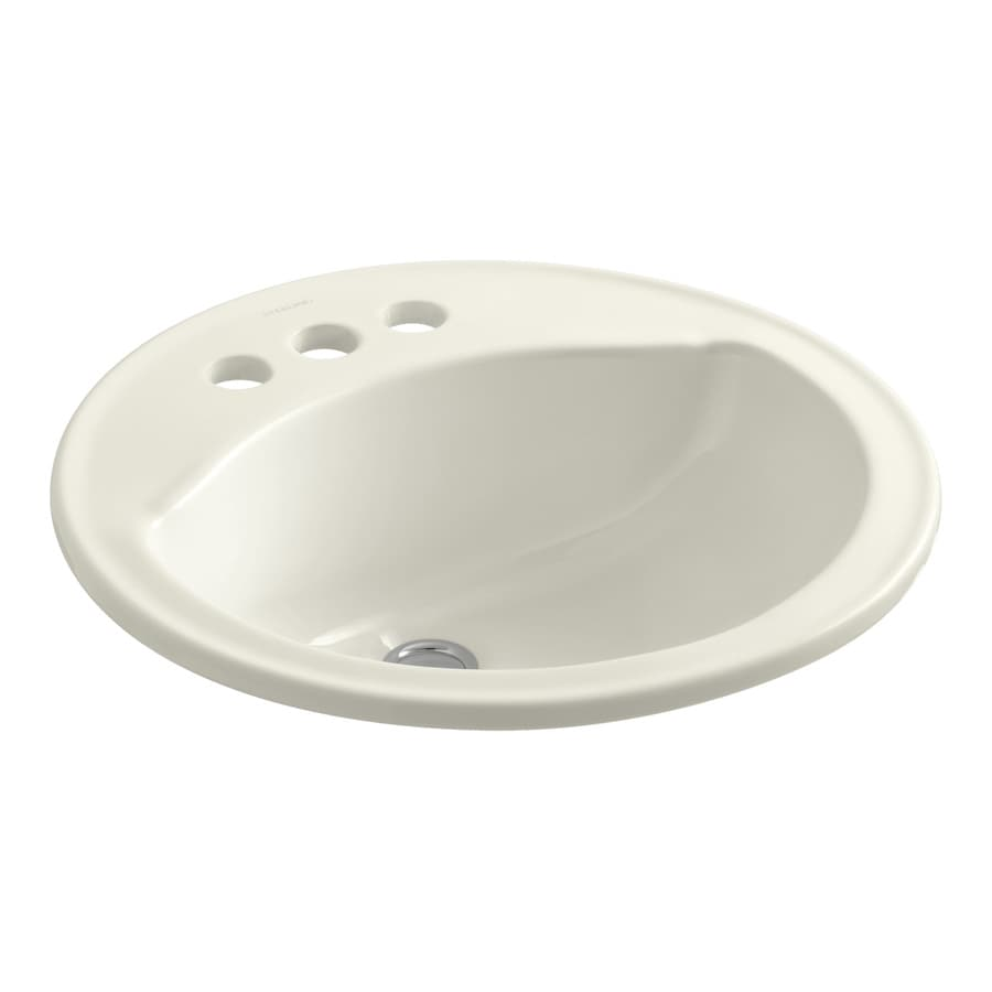 Sterling Modesto Biscuit Drop-In Round Bathroom Sink with Overflow