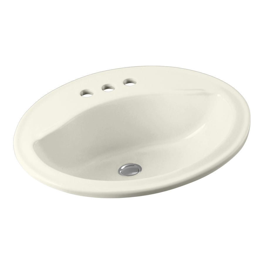 Sterling Sanibel Biscuit Drop-In Oval Bathroom Sink with Overflow