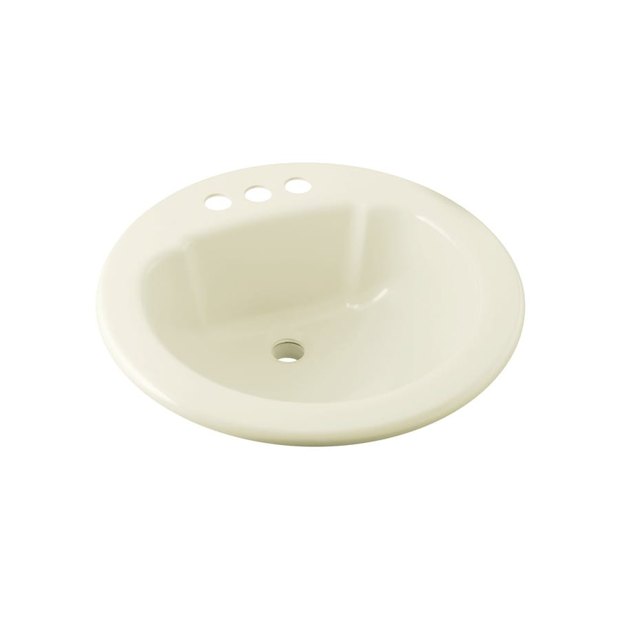 Sterling Biscuit Composite Drop-In Round Bathroom Sink with Overflow