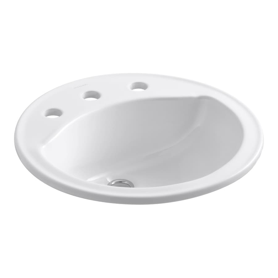 Sterling Modesto White Drop-In Round Bathroom Sink with Overflow