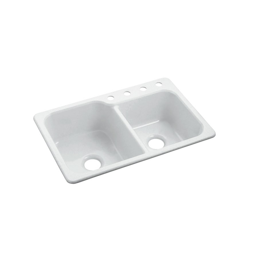 Sterling Maxeen 22-in x 33-in White Double-Basin Composite Drop-In 4-Hole Residential Kitchen Sink