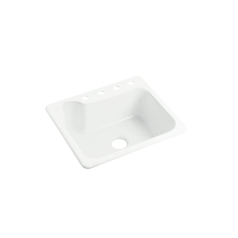 Sterling Maxeen 22-in x 25-in White Single-Basin Composite Drop-In 4-Hole Residential Kitchen Sink