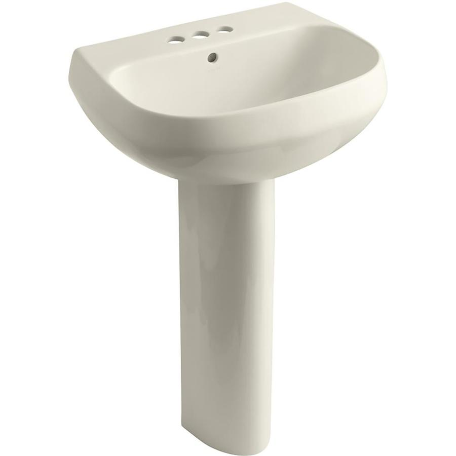 KOHLER Wellworth 34.88-in H Almond Vitreous China Pedestal Sink