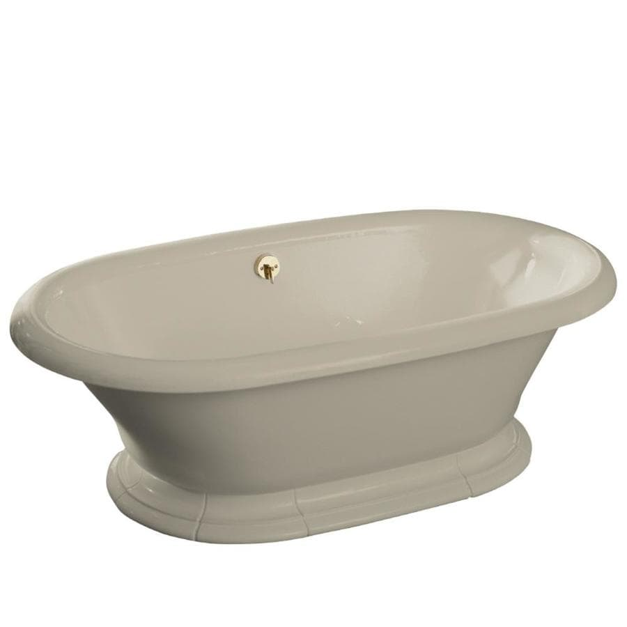 KOHLER Vintage Sandbar Cast Iron Oval Pedestal Bathtub with Center Drain (Common: 42-in x 72-in; Actual: 21.19-in x 42-in x 72-in)
