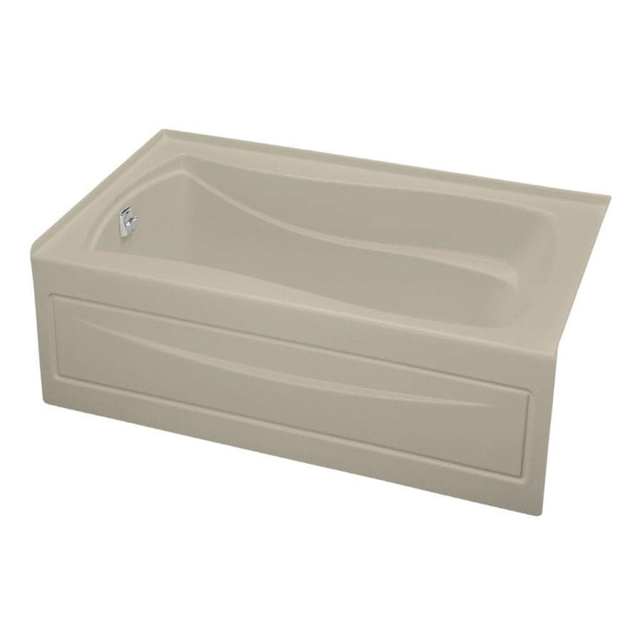 KOHLER Mariposa Sandbar Acrylic Hourglass In Rectangle Skirted Bathtub with Left-Hand Drain (Common: 36-in x 60-in; Actual: 20-in x 36-in x 60-in)