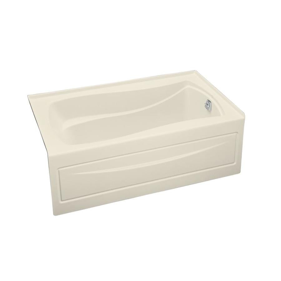 KOHLER Mariposa 60-in Almond Acrylic Alcove Bathtub with Right-Hand Drain