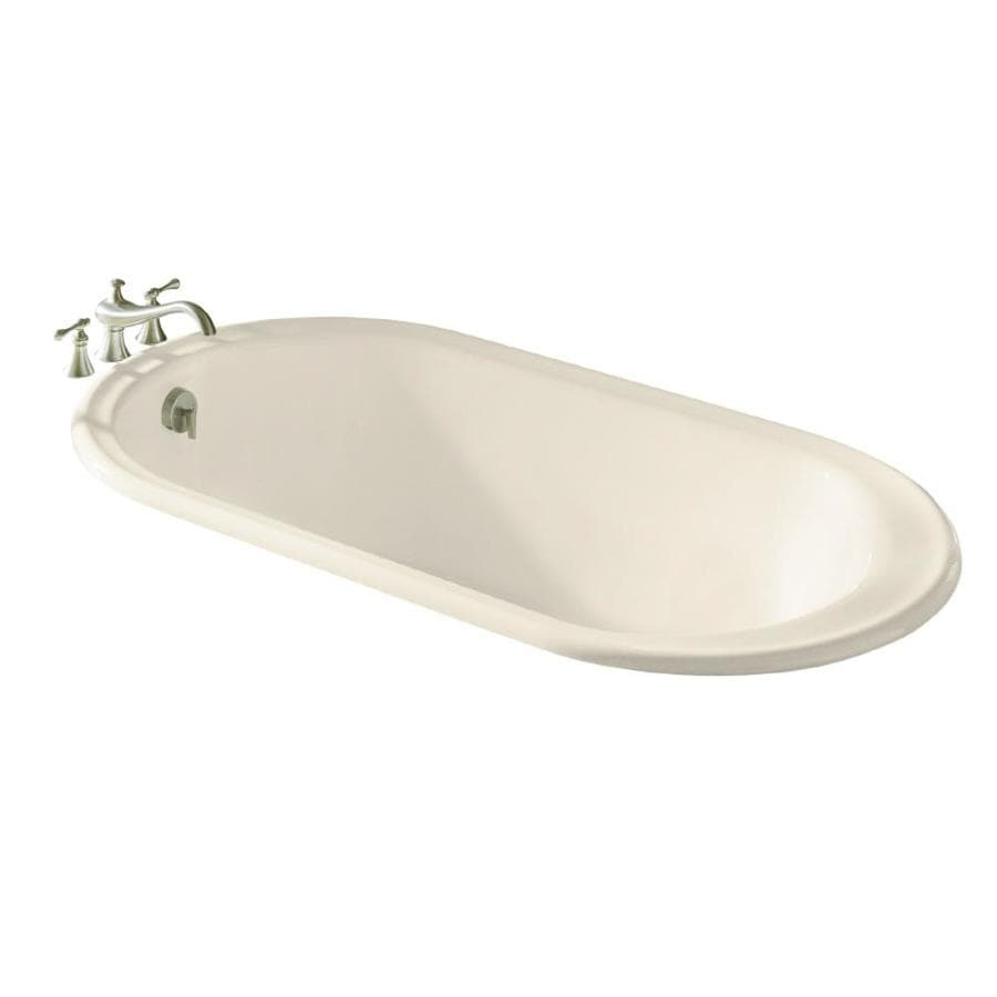 shop kohler iron works almond cast iron oval drop in bathtub with