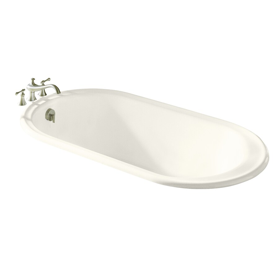 KOHLER Iron Works Biscuit Cast Iron Oval Drop-in Bathtub with Reversible Drain (Common: 36-in x 66-in; Actual: 19.25-in x 36-in x 66-in)