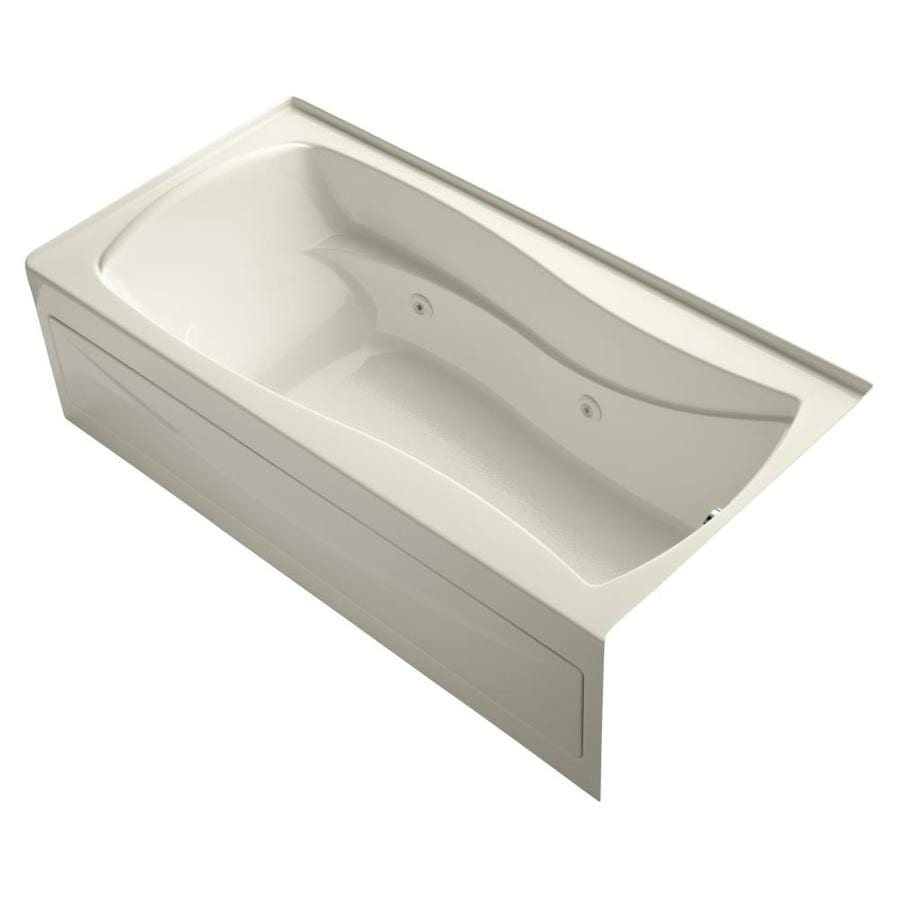 KOHLER Mariposa 72-in Almond Acrylic Alcove Whirlpool Tub with Right-Hand Drain