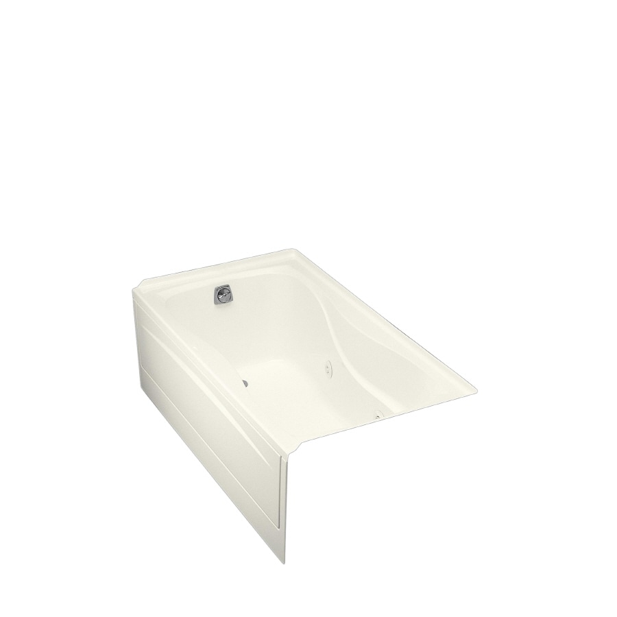 KOHLER Hourglass 60-in Biscuit Acrylic Alcove Whirlpool Tub with Left-Hand Drain