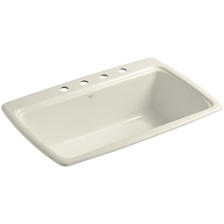 KOHLER Cape Dory 22-in x 33-in Almond Single-Basin Cast Iron Drop-in 4-Hole Residential Kitchen Sink