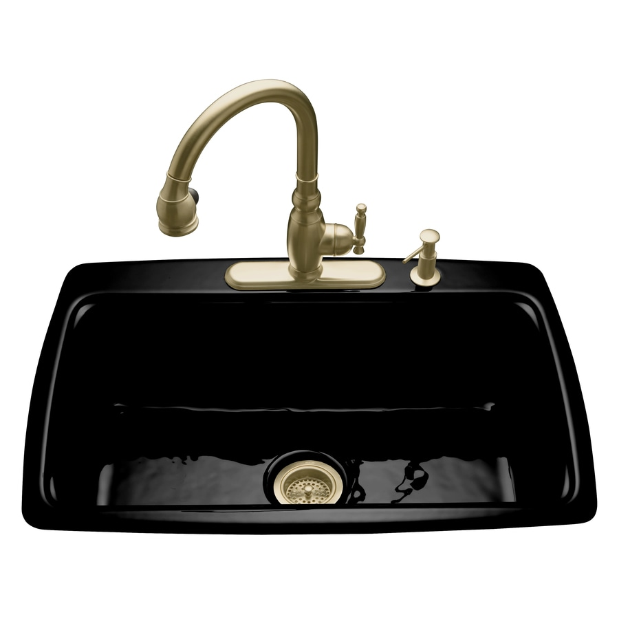 KOHLER Cape Dory 22-in x 33-in Black Black Single-Basin Cast Iron Drop-in 4-Hole Residential Kitchen Sink