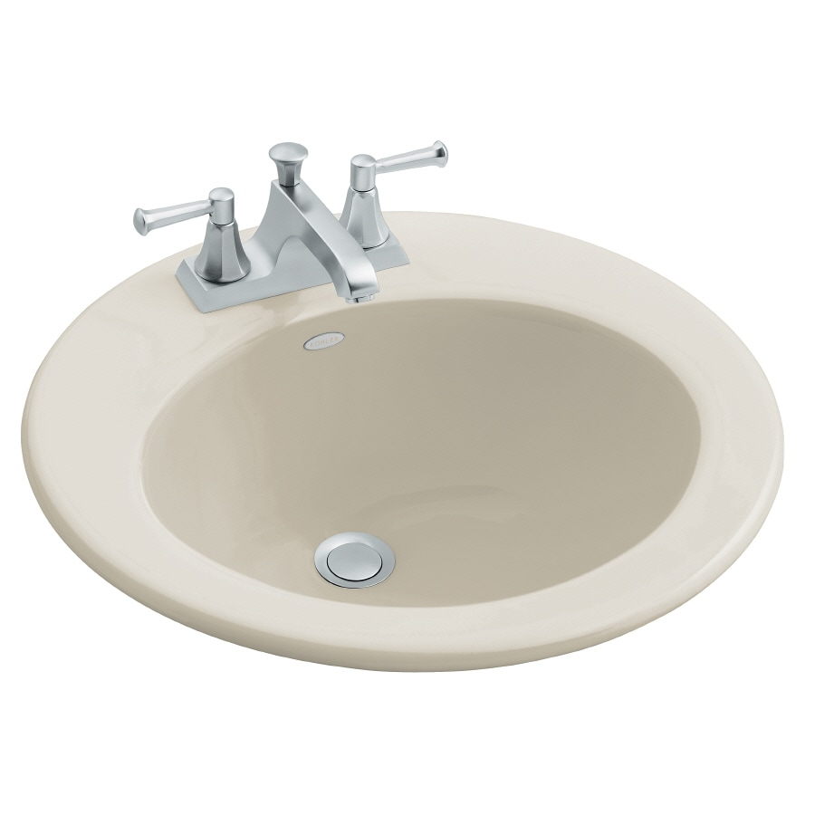 KOHLER Radiant Sandbar Cast Iron Drop-in Round Bathroom Sink with Overflow