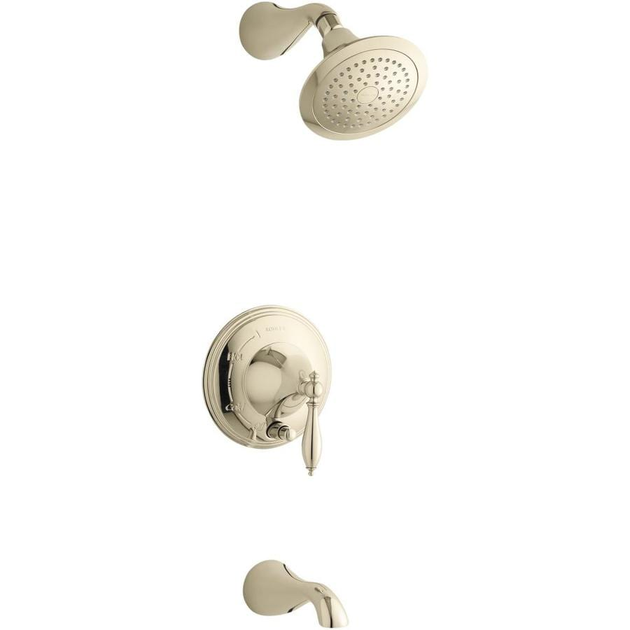 KOHLER Finial Vibrant French Gold 1-Handle Bathtub and Shower Faucet Trim Kit with Single Function Showerhead