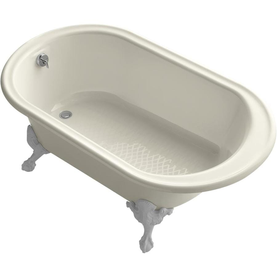 KOHLER Iron Works Historic 66 In Almond Cast Iron Clawfoot Bathtub With  Reversible Drain