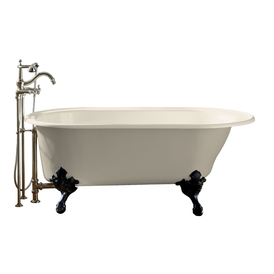 KOHLER Iron Works Historic Almond Cast Iron Oval Clawfoot Bathtub with Reversible Drain (Common: 36-in x 66-in; Actual: 24.5-in x 36-in x 66-in)