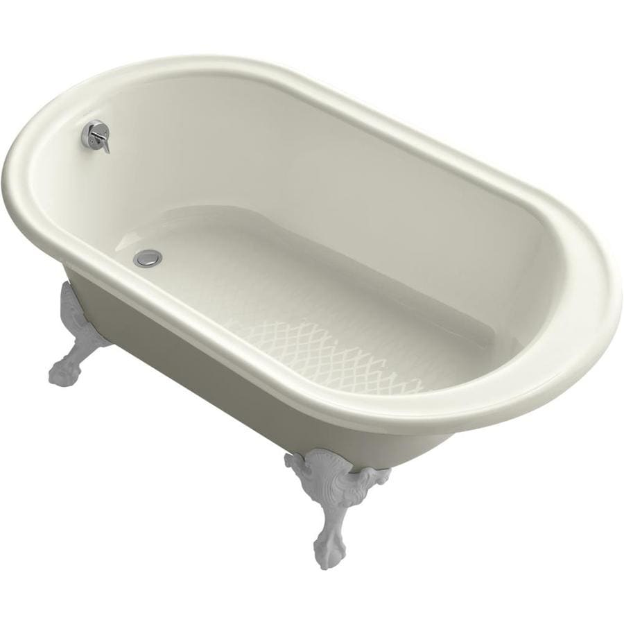 KOHLER Iron Works Historic Biscuit Cast Iron Oval Clawfoot Bathtub with Reversible Drain (Common: 36-in x 66-in; Actual: 24.5-in x 36-in x 66-in)