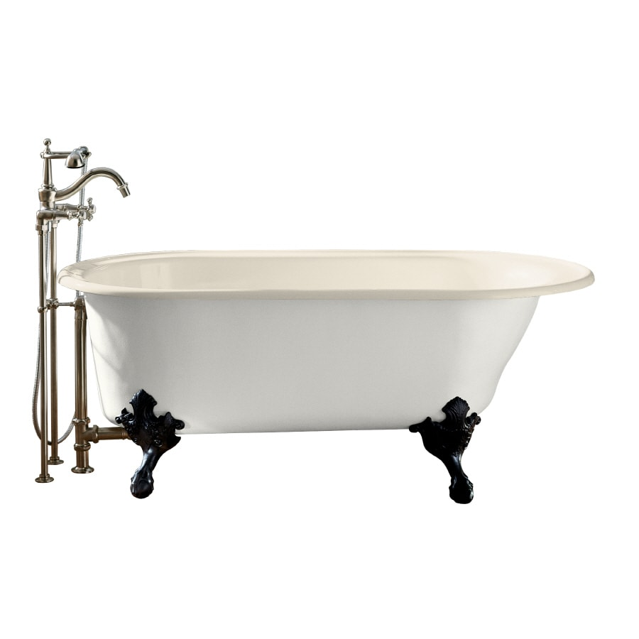 Shop kohler iron works historic 66 in almond cast iron for Claw foot soaker tub