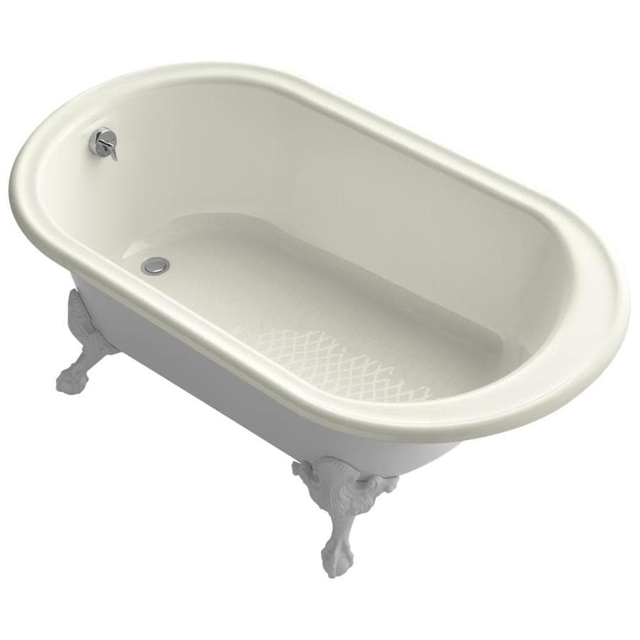 KOHLER Iron Works Historic 66-in Biscuit Cast Iron Clawfoot Bathtub with Reversible Drain
