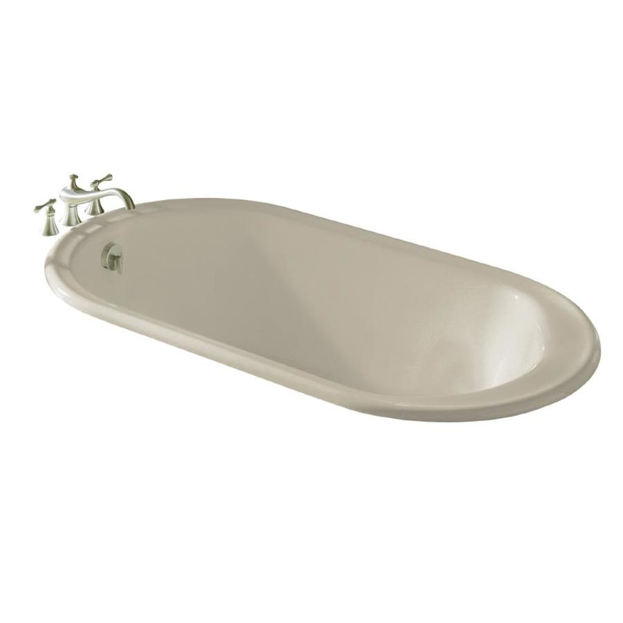 shop kohler iron works sandbar cast iron oval drop in bathtub with