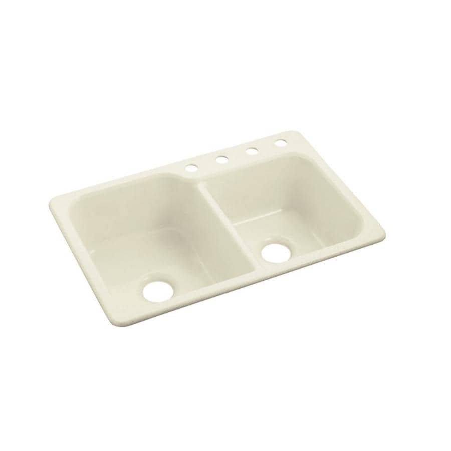 Sterling Maxeen 22.0-in x 33.0-in Biscuit Double-Basin Composite Drop-in 4-Hole Residential Kitchen Sink