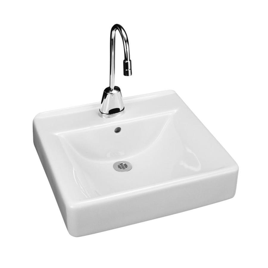 KOHLER Soho White Wall-Mount Rectangular Bathroom Sink with Overflow