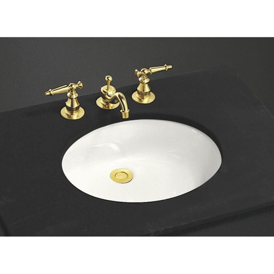Shop kohler caxton white undermount oval bathroom sink at for Bathroom undermount sinks