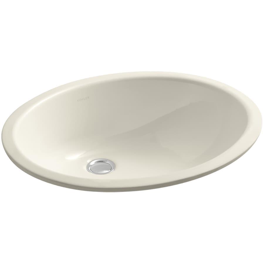 shop kohler caxton almond undermount oval bathroom sink at