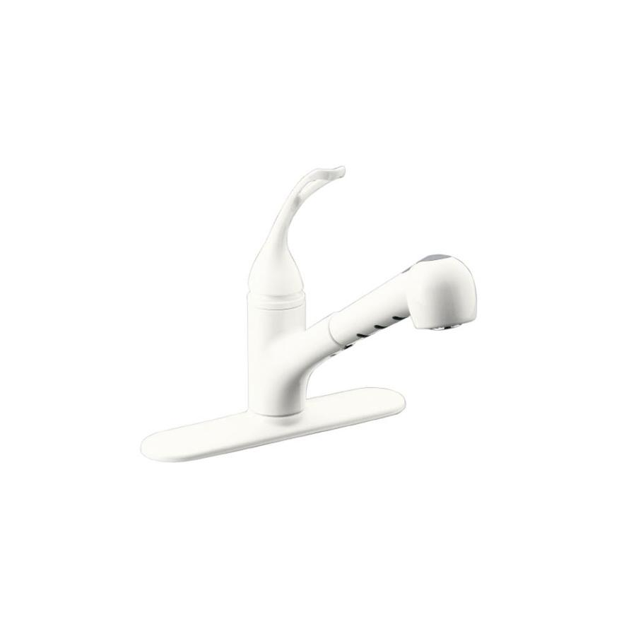 KOHLER Coralais White 1-Handle Pull-Out Kitchen Faucet