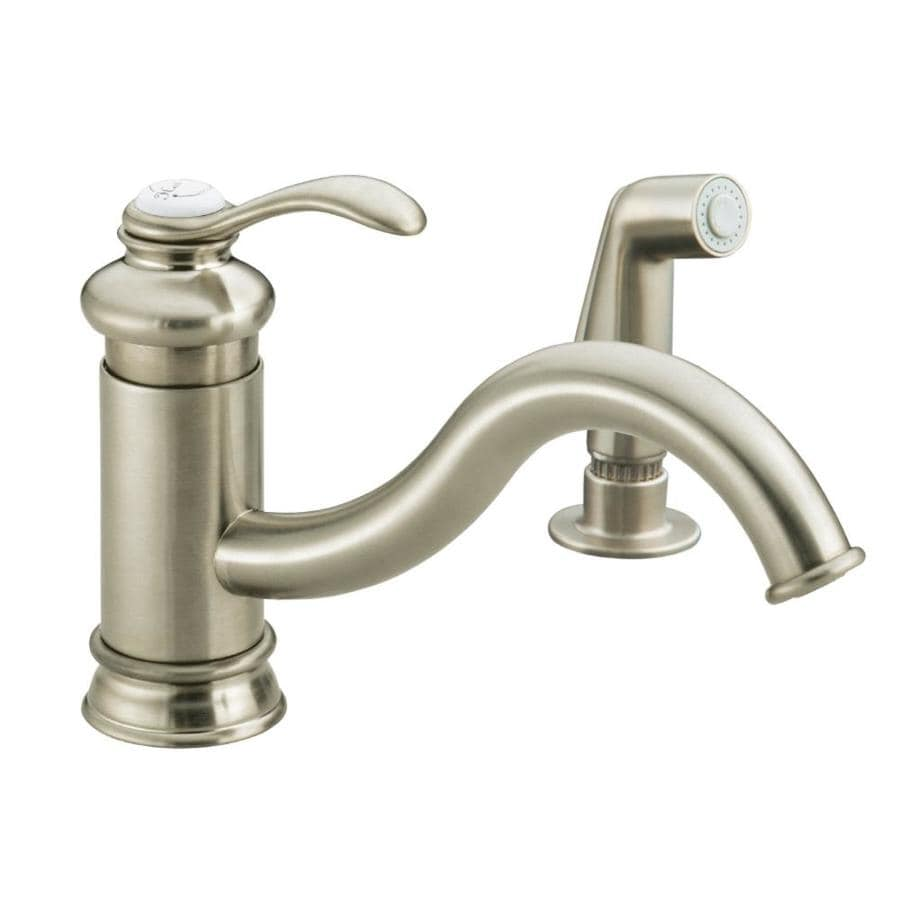 KOHLER Fairfax Vibrant Brushed Nickel 1-Handle Low-Arc Kitchen Faucet with Side Spray