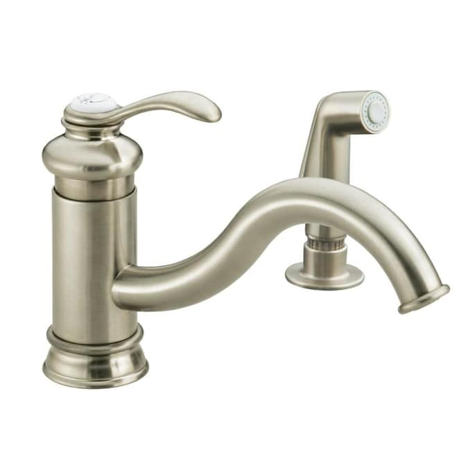 Kohler Fairfax Vibrant Brushed Nickel 1 Handle Deck Mount Low Arc Kitchen Faucet In The Kitchen Faucets Department At Lowes Com