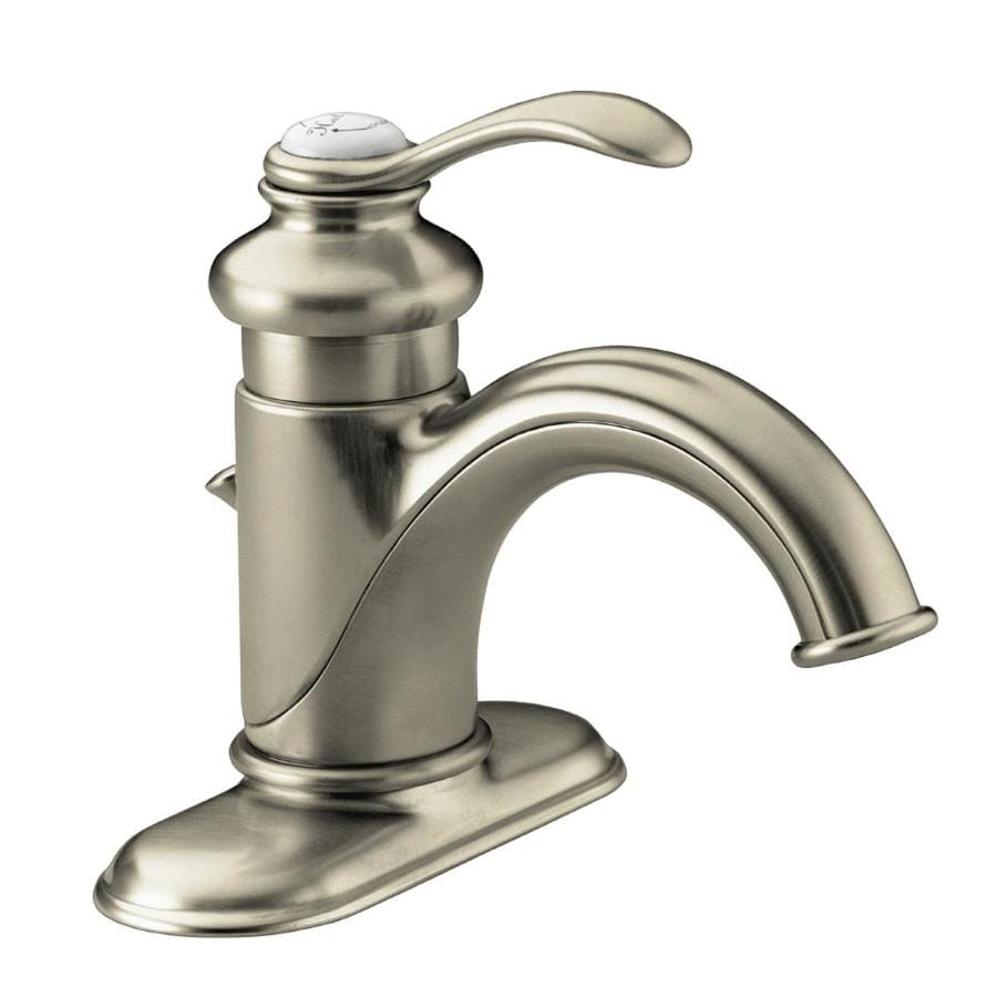 Shop kohler fairfax vibrant brushed nickel 1 handle 4 in - Kohler two tone bathroom faucets ...