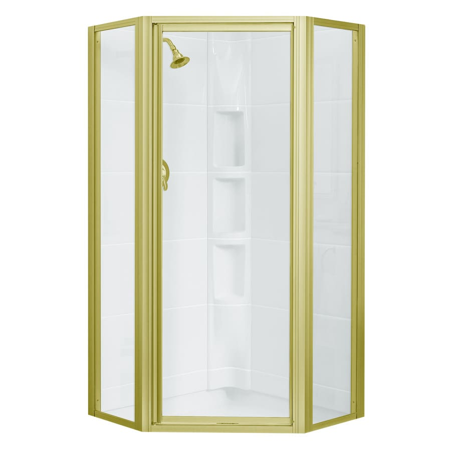 Sterling 72 In H Polished Brass Neo Angle Shower Door At