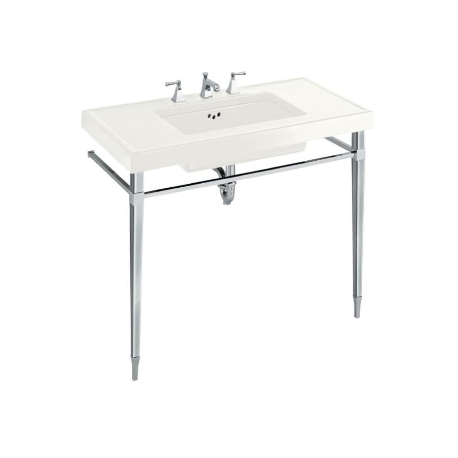 Shop KOHLER Kathryn White Fire Clay Single Sink Bathroom Vanity Top ...