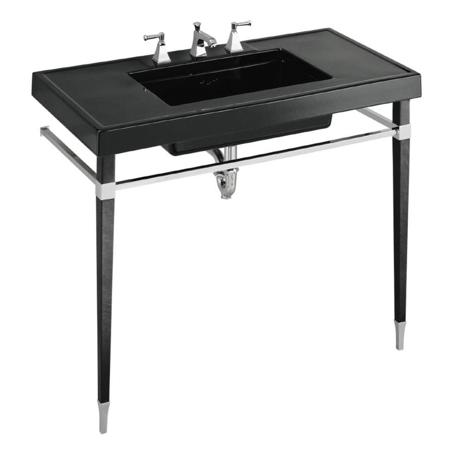 Kohler Kathryn Black Fire Clay Single Sink Bathroom Vanity Top Common 42 In