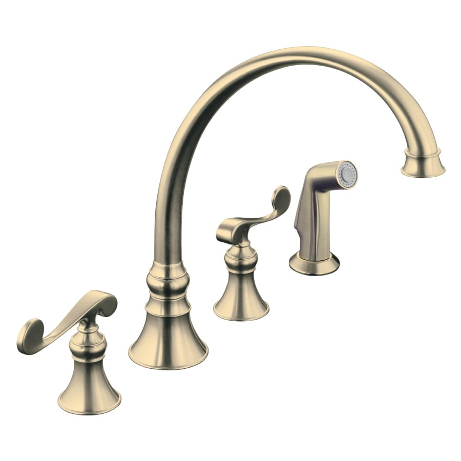 KOHLER Revival Vibrant Brushed Bronze 2-Handle High-Arc Kitchen Faucet