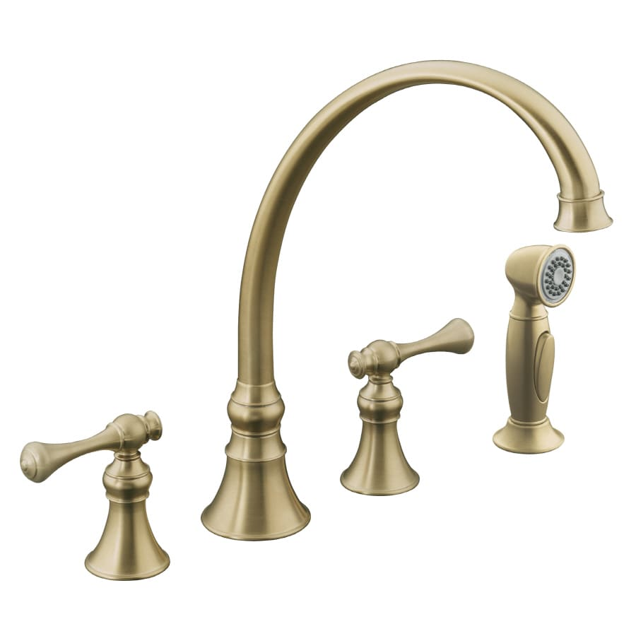 kohler revival vibrant brushed bronze 2 handle high arc kitchen faucet