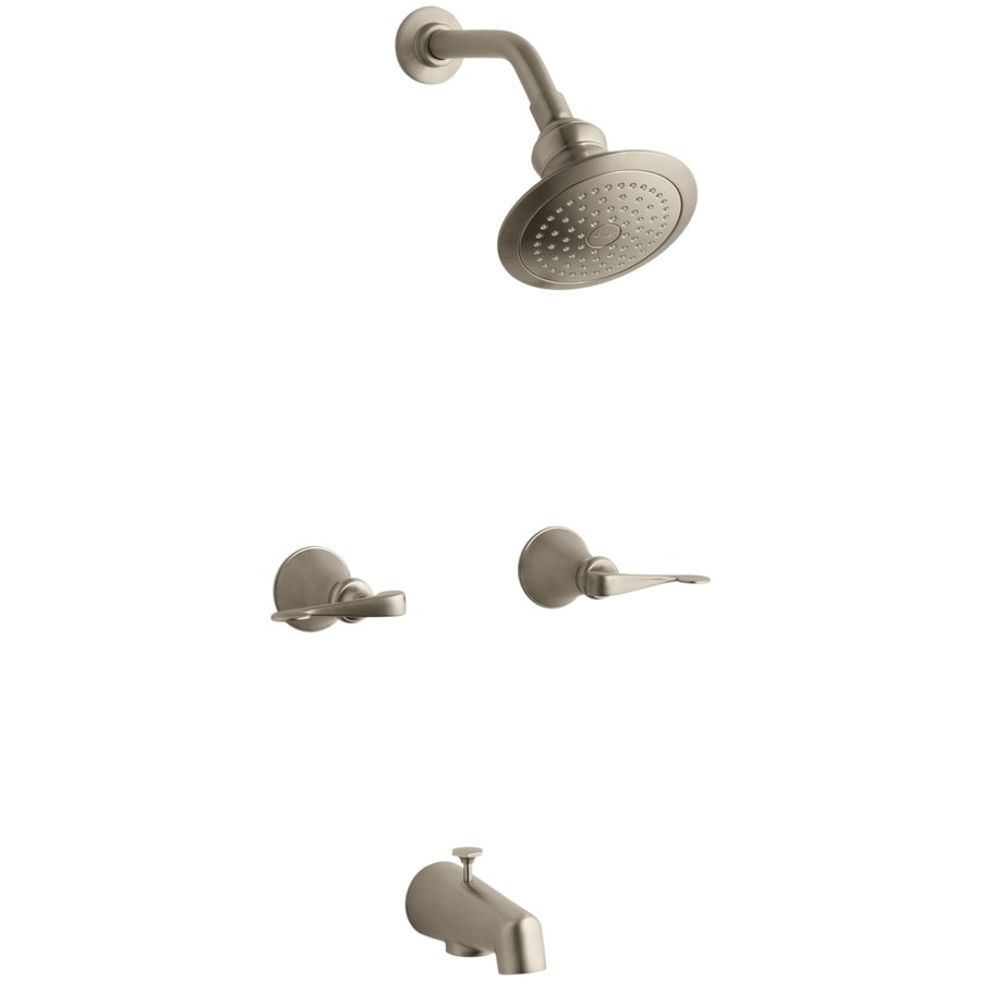 KOHLER Revival Vibrant Brushed Bronze 2-Handle Bathtub and Shower Faucet with Single Function Showerhead