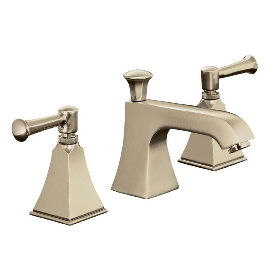 Shop KOHLER Memoirs Vibrant Brushed Bronze Handle Widespread - Kohler bathroom vanity faucets
