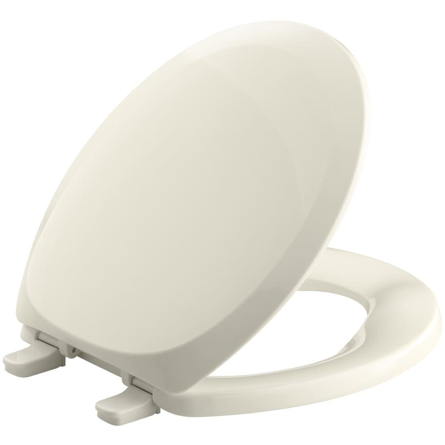 Shop KOHLER French Curve Plastic Round Toilet Seat at Lowes.com