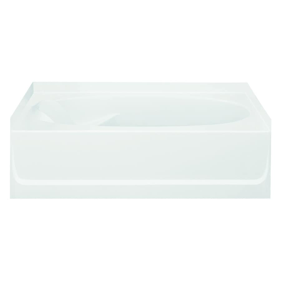 Sterling Ensemble White Fiberglass and Plastic Composite Oval In Rectangle Skirted Bathtub with Right-Hand Drain (Common: 42-in x 60-in; Actual: 16-in x 42-in x 60.25-in)
