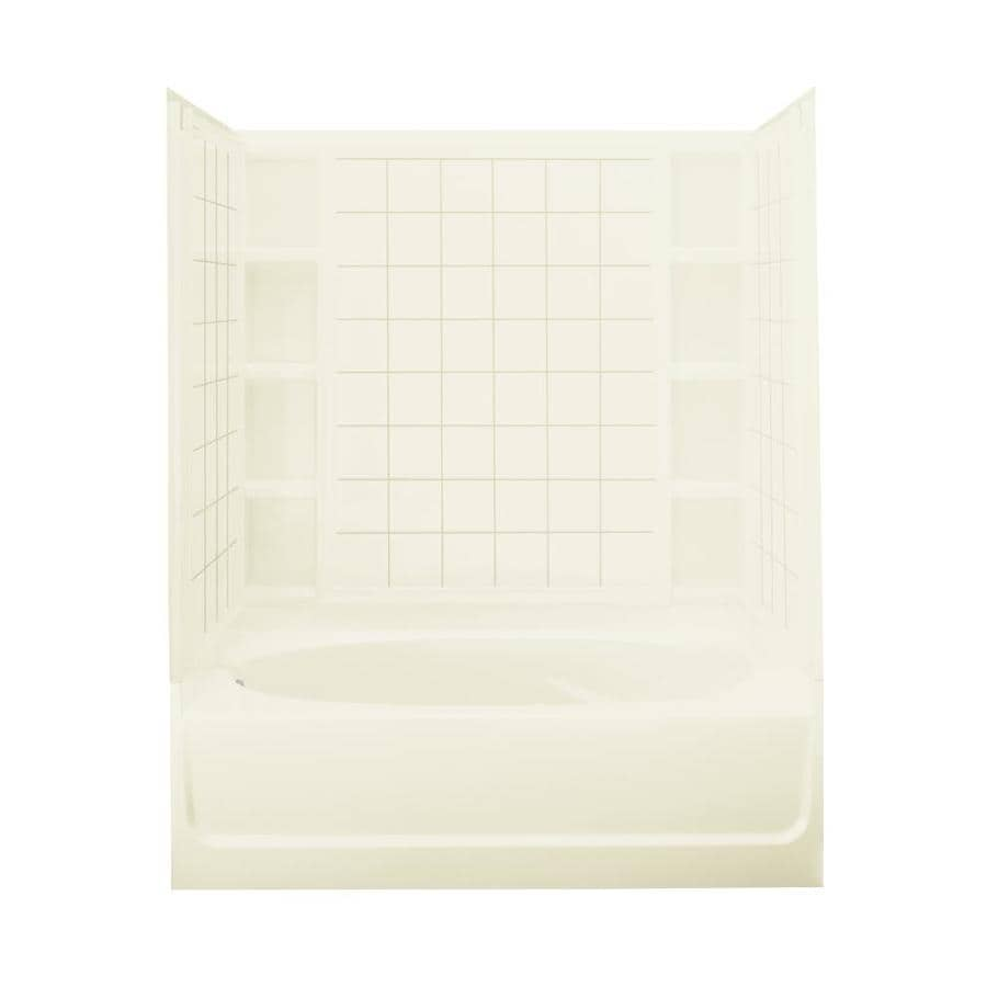 Sterling Ensemble Biscuit Fiberglass and Plastic Composite Oval In Rectangle Skirted Bathtub with Left-Hand Drain (Common: 42-in x 60-in; Actual: 72-in x 42-in x 60.25-in)