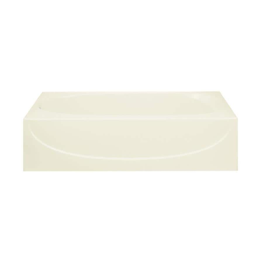 Sterling Acclaim Biscuit Fiberglass and Plastic Composite Oval In Rectangle Skirted Bathtub with Left-Hand Drain (Common: 30-in x 60-in; Actual: 15-in x 30.5-in x 60.25-in)