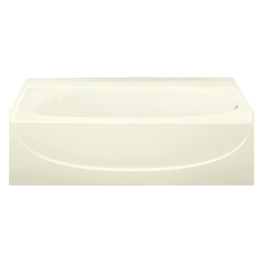 Sterling Acclaim Biscuit Fiberglass and Plastic Composite Oval In Rectangle Skirted Bathtub with Right-Hand Drain (Common: 30-in x 60-in; Actual: 15-in x 30.5-in x 60.25-in)